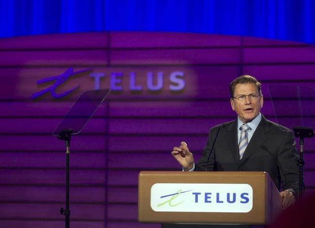 Darren Entwistle, president and chief executive officer of Telus Corporation speaks at the company's annual general meeting in Montreal, May 9, 2013. REUTERS/Christinne Muschi