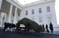 U.S. first lady Michelle Obama (R) and her daughters Sasha and Malia welcome the official White House Christmas tree at the North Portico of the White House in Washington November 29, 2013. REUTERS/Jason Reed
