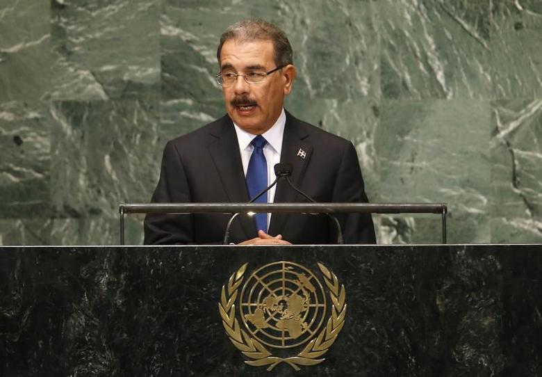 Dominican Republic's President Danilo Medina speaks during the 67th United Nations General Assembly at U.N. headquarters in New York, September 25, 2012 file photo. REUTERS/Mike Segar