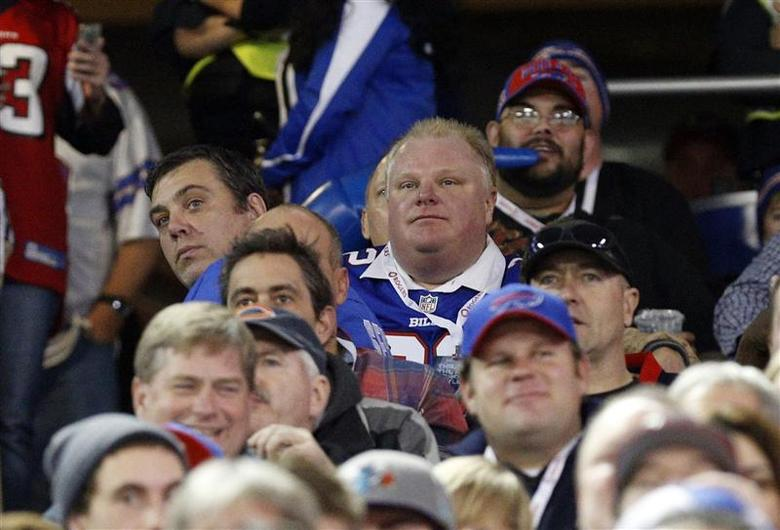 Toronto city mayor Rob Ford in attendance at the game between the Buffalo Bills and the Atlanta Falcons during the first half at the Rogers Center. Mandatory Credit: Kevin Hoffman-USA TODAY Sports
