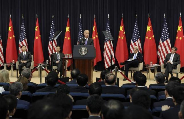 U.S. Vice President Joe Biden speaks during the U.S.-China Strategic and Economic Dialogue (S&ED) Joint Opening Session at the State Department in Washington July 10, 2013. REUTERS/Yuri Gripas