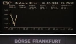 Les Bourses européennes sont en légère baisse à mi-séance, au début d'une semaine qui sera marquée par la publication de nombreux indicateurs économiques. Vers 12h45, le CAC 40 perd 0,31% à Paris, le Dax gagne 0,04% à Francfort et le FTSE abandonne 0,62% à Londres. /Photo prise le 2 décembre 2013/REUTERS/Remote