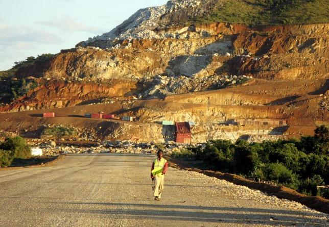 A Malagasy worker walks along an access track at a mining project to construct an ilmenite (iron titanium oxide) mine in Fort Dauphin, on Madagascar's south-eastern coast April 26, 2007. REUTERS/Ed Harris