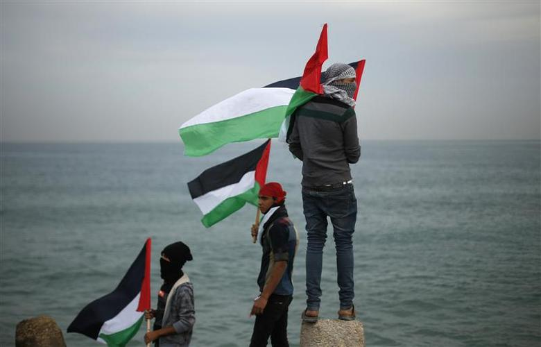 Palestinians wave national flags during a protest against the blockade on Gaza, at the seaport of Gaza City December 2, 2013. REUTERS/Suhaib Salem