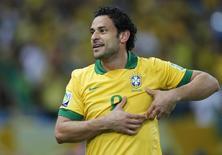 O atacante Fred comemora gol do Brasil na final da Copa das Confederações, em 30 de junho, no estádio do Maracanã. REUTERS/Sergio Moraes