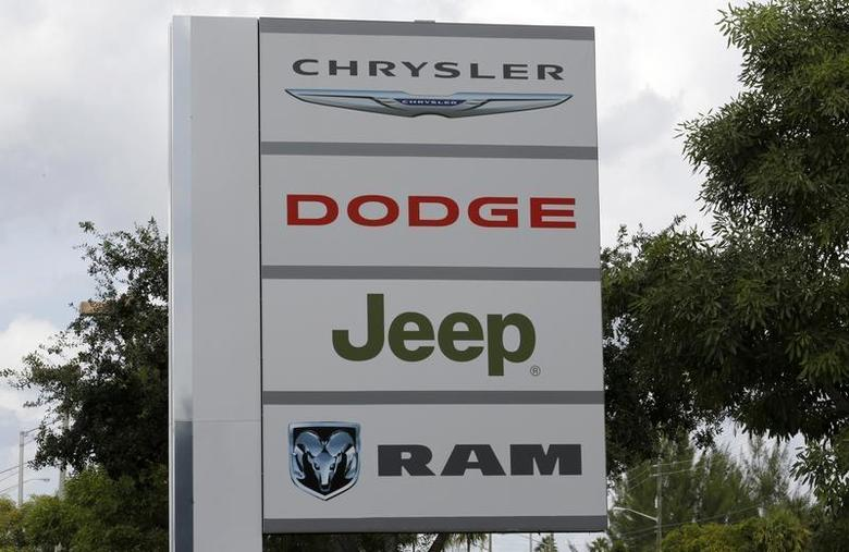 A sign is shown at the Massey-Yardley Chrysler Dodge, Jeep and Ram automobile dealership in Plantation, Florida October 8, 2013. REUTERS/Joe Skipper
