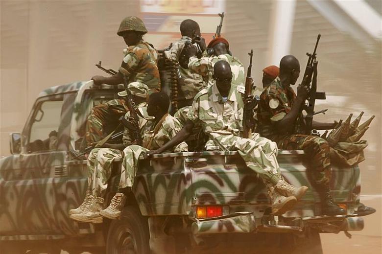 Seleka soldiers patrol in Bangui December 3, 2013. REUTERS/Emmanuel Braun