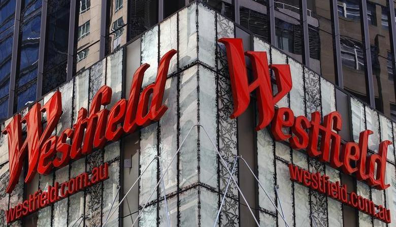 Westfield Group logo is seen at the top of a shopping mall in central Sydney November 3, 2010. REUTERS/Daniel Munoz