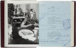 "U.S. actress Farrah Fawcett's copy of the script for the film ""The Burning Bed"" is pictured in this undated handout photo courtesy of Heritage Auctions. REUTERS/Heritage Auctions/Handout via Reuters"