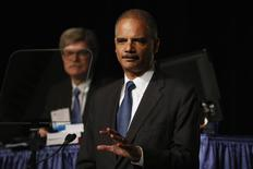 U.S. Attorney General Eric Holder speaks on stage during the annual meeting of the American Bar Association in San Francisco, California August 12, 2013. REUTERS/Stephen Lam