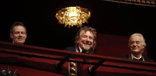 Members of Led Zeppelin are pictured on the balcony of the Kennedy Center as 2012 honorees in Washington, December 2, 2012. (L-R) John Paul Jones, Robert Plant and Jimmy Page were among seven who were honored this year. REUTERS/Jason Reed
