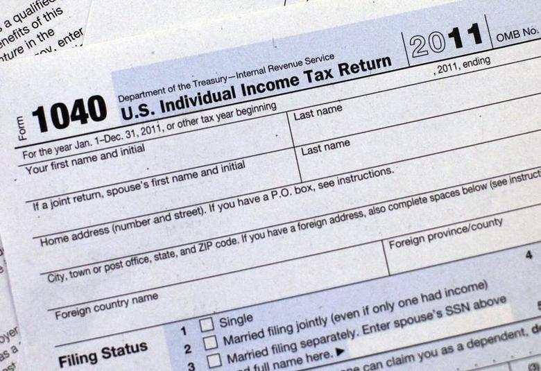 A 2011 U.S. Individual Income Tax Return form is seen in New York April 17, 2012. REUTERS/Shannon Stapleton