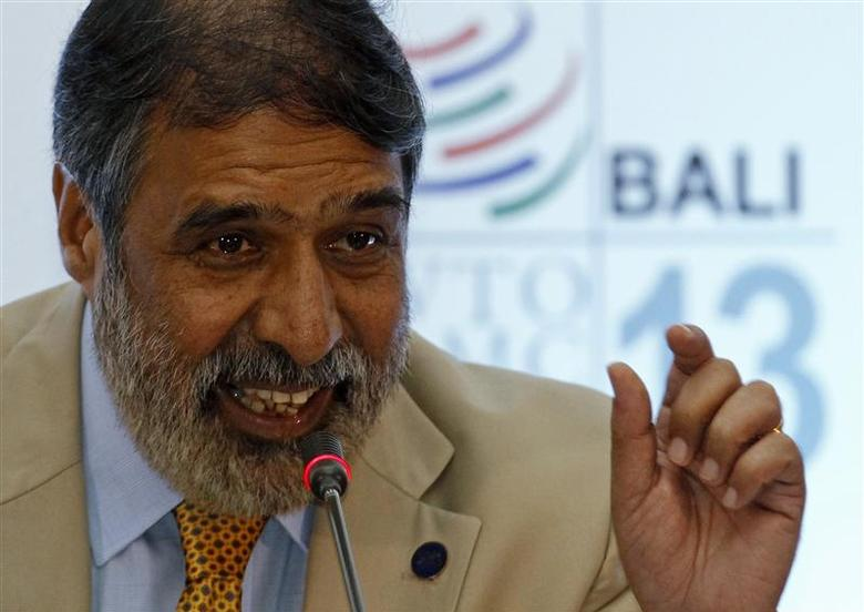 India's trade minister Anand Sharma speaks about food security during a news conference at the ninth World Trade Organization (WTO) Ministerial Conference in Nusa Dua, on the Indonesian resort island of Bali December 5, 2013. REUTERS/Edgar Su