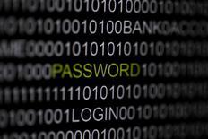 Слово 'password' ('пароль') на экране компьютера в Берлине 21 мая 2013 года. Эксперты по безопасности обнаружили примерно два миллиона украденных паролей к Facebook, Google, Twitter и другим популярным сайтам на сервере в Нидерландах, через который хакеры контролировали ботнет Pony - систему дистанционного управления зараженными компьютерами. REUTERS/Pawel Kopczynski
