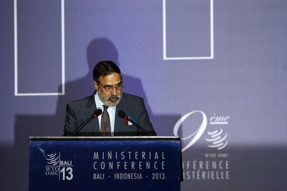 India's trade minister Anand Sharma speaks during a plenary session of the ninth World Trade Organization (WTO) Ministerial Conference in Nusa Dua, on the Indonesian resort island of Bali December 4, 2013. REUTERS/Edgar Su