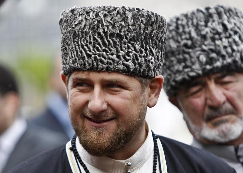 Chechen leader Ramzan Kadyrov smiles during a government organised event marking Chechen language day in central Grozny April 25, 2013. REUTERS/Maxim Shemetov