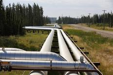 Pipelines carrying steam to wellheads and heavy oil back to the processing plant line the roads and boreal forest at the Cenovus Energy Christina Lake Steam-Assisted Gravity Drainage (SAGD) project 120 km (74 miles) south of Fort McMurray, Alberta, August 15, 2013. Cenovus currently produces 100,000 barrels of heavy oil per day at their Christina Lake tar sands project. REUTERS/Todd Korol