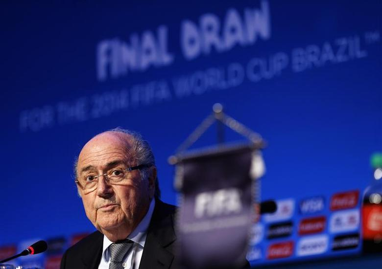 FIFA President Sepp Blatter speaks during a news conference ahead of the 2014 World Cup draw at the Costa do Sauipe resort in Sao Joao da Mata, Bahia state, December 5, 2013. REUTERS/Sergio Moraes