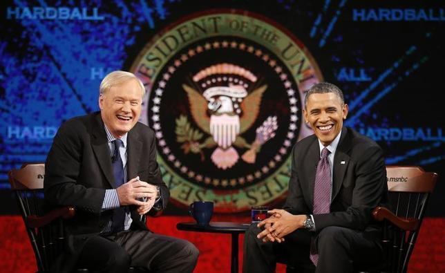 U.S. President Barack Obama is interviewed on MSNBC's ''Hardball with Chris Matthews'' at American University in Washington December 5, 2013. REUTERS/Kevin Lamarque