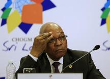 South African President Jacob Zuma reacts during a news conference at the Commonwealth Heads of Government Meeting (CHOGM) in Colombo November 17, 2013. REUTERS/Dinuka Liyanawatte