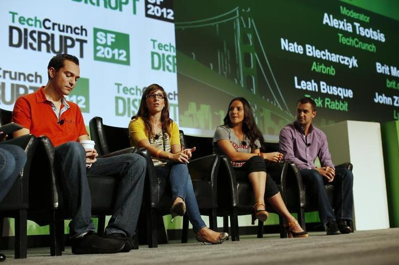 Nate Blecharczyk of Airbnb (L-R), Leah Busque of TaskRabbit, Brit Morin of Brit & Co., and John Zimmer of Lyft speak on stage during day one of TechCrunch Disrupt SF 2012 event at the San Francisco Design Center Concourse in San Francisco, California September 10, 2012. REUTERS/Stephen Lam