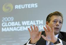 REYL & Cie SA Chief Executive Officer Francois Reyl gestures during the Reuters Global Wealth Management Summit in Geneva October 7, 2009. REUTERS/Denis Balibouse