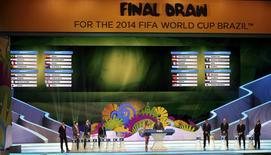 The groups for the 2014 World Cup finals are shown on the screen after the draw was made at the Costa do Sauipe resort in Sao Joao da Mata, Bahia state, December 6, 2013.REUTERS/Sergio Moraes