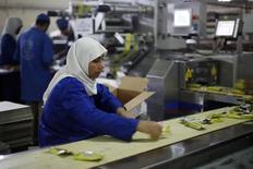 عاملة بمصنع للحلوى في دير البلح بوسط قطاع غزة بصورة التقطت يوم 4 ديسمبر كانون الأول 2013. تصوير: ابراهيم ابو مصطفى - رويترز