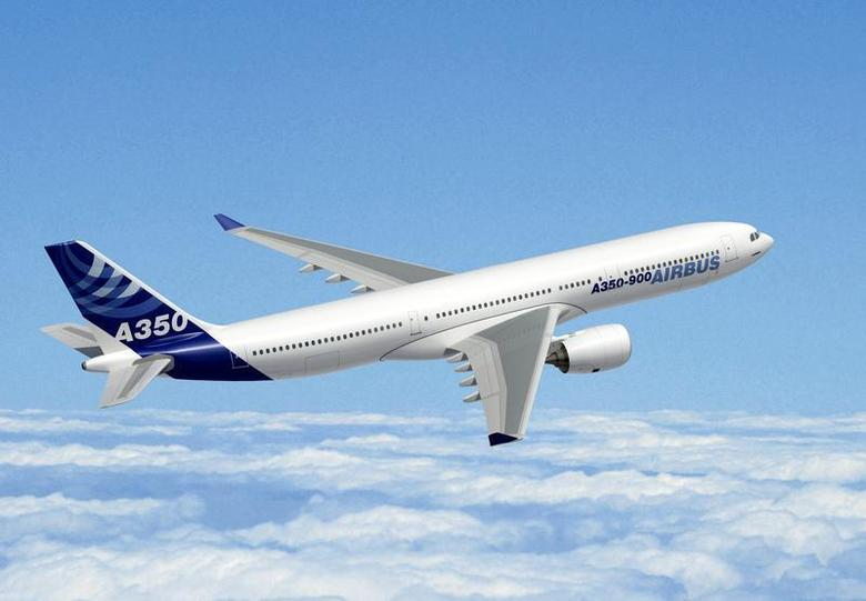 An Airbus A350-900, a mid-sized, long-haul aircraft, is seen in this computer generated handout image released by Airbus Industries on October 7, 2005.