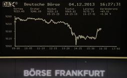 La curva del DAX en un monitor en la Bolsa de Fráncfort, dic 4 2013. Las acciones europeas subieron el lunes y consolidaron las ganancias de la sesión previa, debido a que los datos de exportaciones de China alentaron a los inversores a anticipar un crecimiento global más sólido. REUTERS/Remote/Stringer