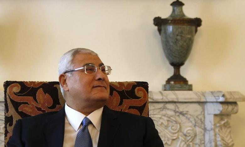 Egypt's interim President Adli Mansour attends a meeting with EU foreign policy chief Catherine Ashton (not seen) at El-Thadiya presidential palace in Cairo, July 29, 2013. REUTERS/Amr Abdallah Dalsh