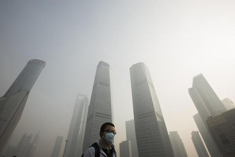 A man wears a mask while walking on a bridge during a hazy day in Shanghai's financial district of Pudong December 5, 2013. REUTERS/Aly Song
