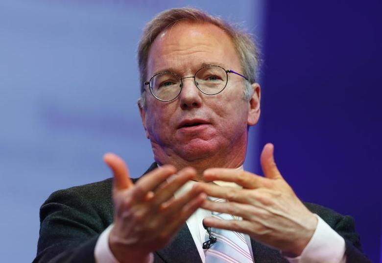 Google Executive Chairman Eric Schmidt speaks at the Google Big Tent event at the Grove Hotel, on the outskirts of London May 22, 2013. REUTERS/Olivia Harris