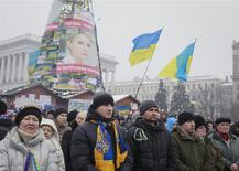 People attend a rally to support pro-European integration at the Independence Square in central Kiev, December 12, 2013. REUTERS/Gleb Garanich