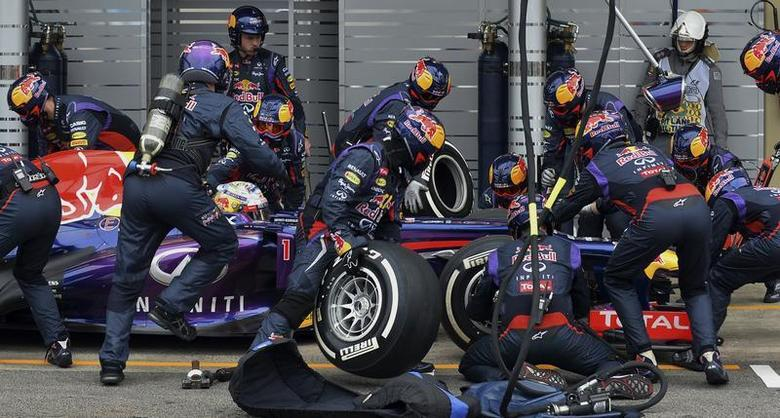 Red Bull Formula One driver Sebastian Vettel of Germany is attended to by his crew during a pit stop during the Brazilian F1 Grand Prix at the Interlagos circuit in Sao Paulo November 24, 2013. REUTERS/Nelson Almeida