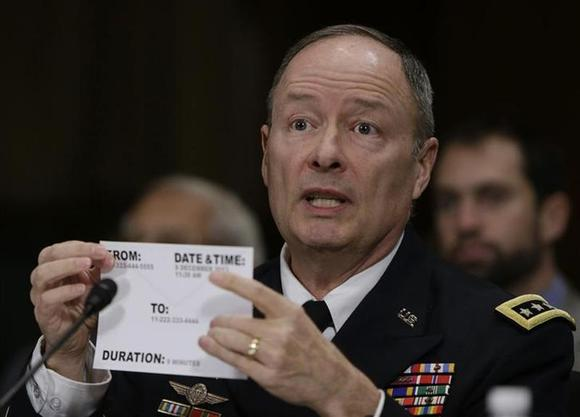 U.S. National Security Agency (NSA) Director General Keith Alexander uses a library card as an example while testifying before the Senate Judiciary Committee in Washington December 11, 2013. REUTERS/Gary Camero