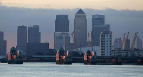London's financial district is seen behind the Thames Barrier late afternoon December 1, 2013. REUTERS/Russell Boyce