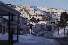 Sale signs line homes surrounded by slag heaps in Thetford Mines, Quebec, February 12, 2012. REUTERS/Christinne Muschi