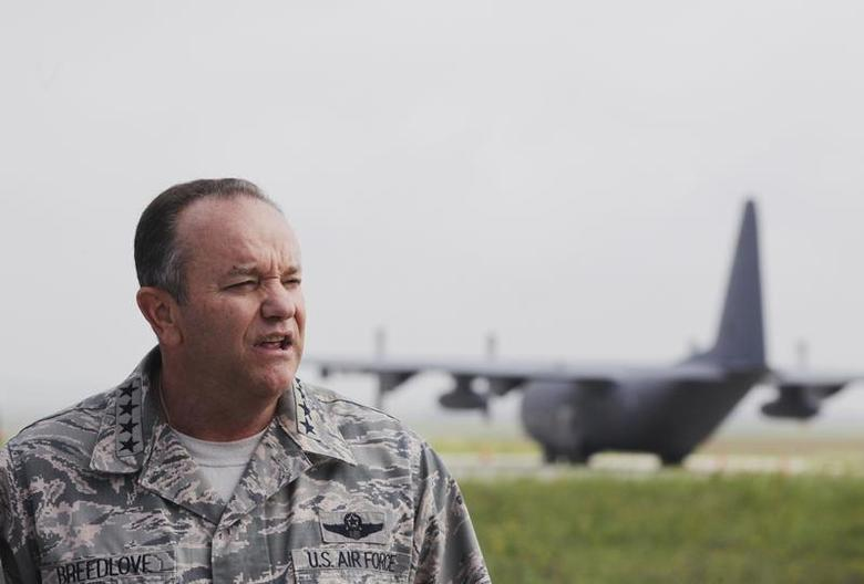 NATO's top military chief, General Philip Breedlove, speaks about the conflict in Syria during a news conference at Pristina Military Airport June 7, 2013. REUTERS/Hazir Reka