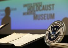 The long-lost diary of Alfred Rosenberg, a top aide to Adolf Hitler, is displayed at the Holocaust Museum in Washington December 17, 2013. REUTERS/Gary Cameron