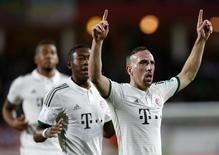 Franck Ribéry comemora gol do Bayern de Munique contra o Guangzhou nesta terça-feira. REUTERS/Ahmed Jadallah