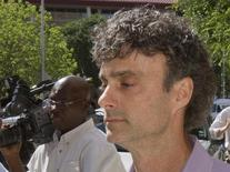 Former BP Plc engineer Kurt Mix leaves the Federal courthouse in Houston April 24, 2012. REUTERS/Richard Carson