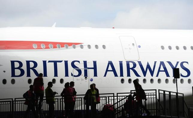 British Airways' Airbus A380 arrives at a hanger after landing at Heathrow airport in London July 4, 2013. REUTERS/Paul Hackett