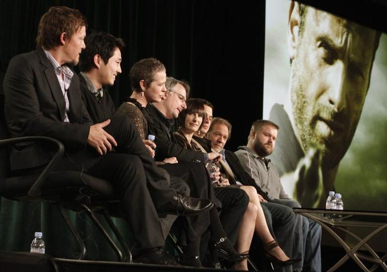 Cast members and producers of ''The Walking Dead'' take part in a panel discussion at AMC's TCA Winter Press Tour in Pasadena, California, January 14 2012. REUTERS/Jonathan Alcorn