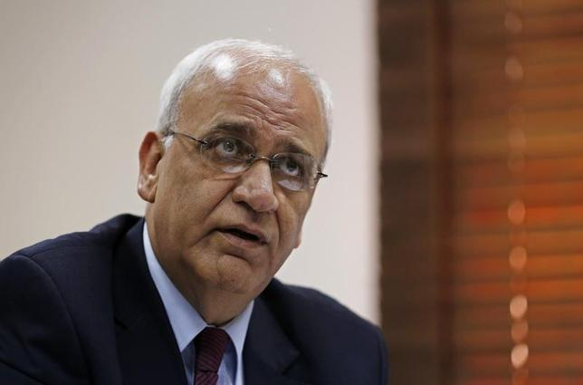 Palestinian chief negotiator Saeb Erekat speaks during his interview with Reuters in the West Bank city of Ramallah August 11, 2013. REUTERS/Mohamad Torokman