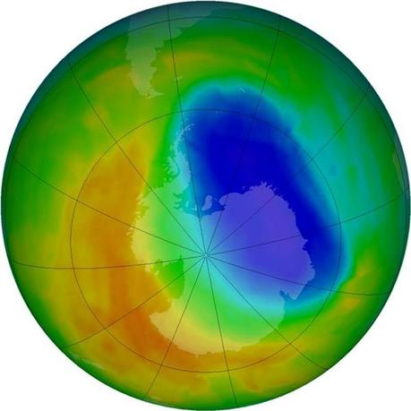 A false-color view of total ozone over the Antarctic pole is seen in this NASA handout image released October 24, 2012. REUTERS/NASA/Handout