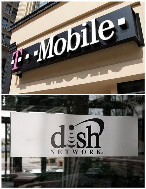 A combination photo shows a T-Mobile store (top) and the corporate headquarters of Dish Network (bottom) in Los Angeles, California August 31, 2011 and in the Denver suburb of Englewood, Colorado April 6, 2011 respectively. REUTERS/Files