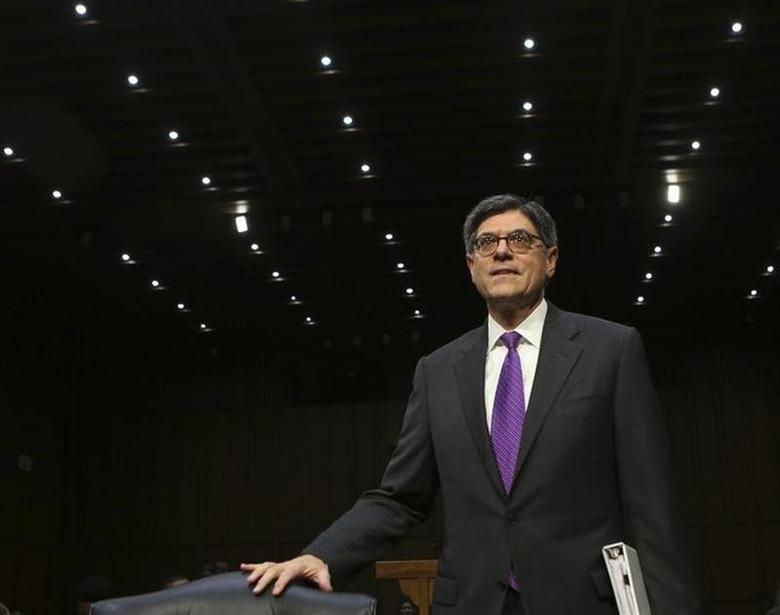 U.S. Treasury Secretary Jack Lew arrives before the Senate Finance Committee on the U.S. government debt limit in Washington October 10, 2013. REUTERS/Gary Cameron