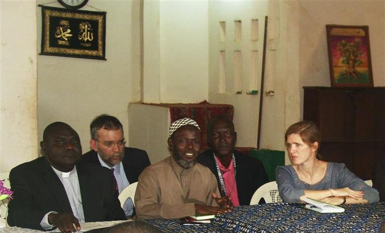 U.S. Ambassador to the United Nations Samantha Power meets a member (C) of the Muslim community in Bangui December 19, 2013. REUTERS/Alain Amontchi