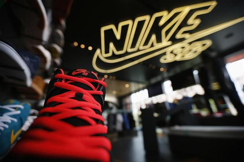 Shoes are displayed in the Nike store in Santa Monica, California, in this September 25, 2013, file photo. REUTERS/Lucy Nicholson/Files